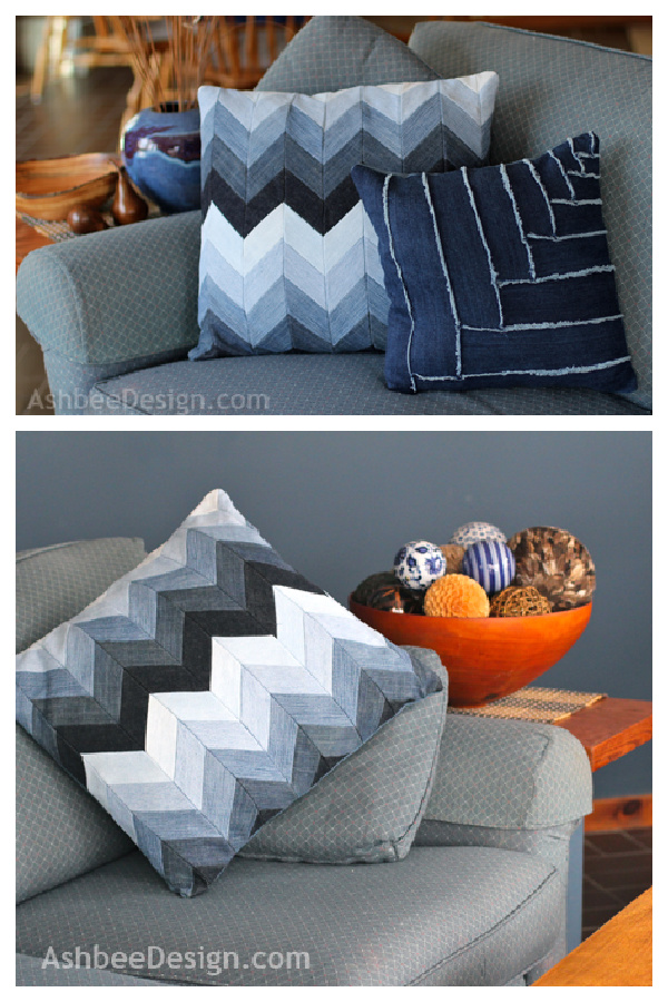Upcycle Jeans into Chevron Pillow Free Sewing Pattern