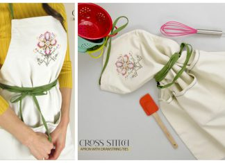 Cross Stitch Apron with Drawstring Ties Free Sewing Pattern