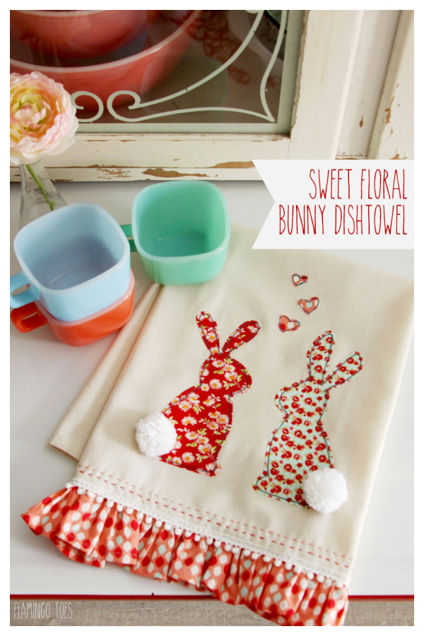 Sweet Floral Bunny Dishtowel Free Sewing Pattern