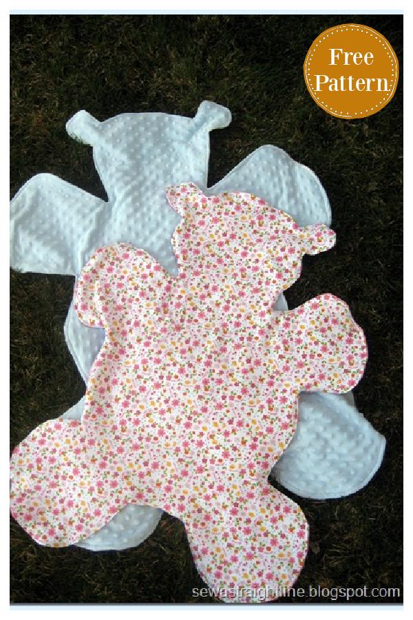 Teddy Bear Shaped Blanket Free Sewing Pattern