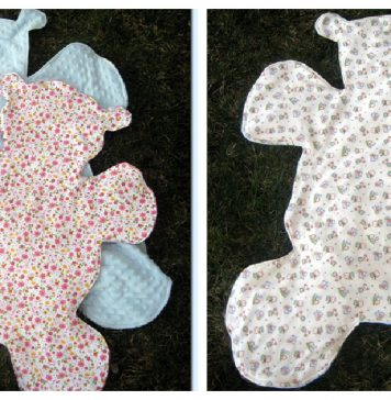 Teddy Bear Shaped Blanket Free Sewing Pattern