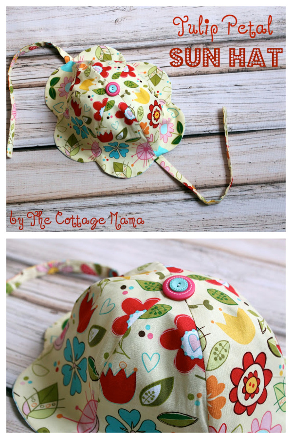 Tulip Petal Sun Hat Free Sewing Pattern