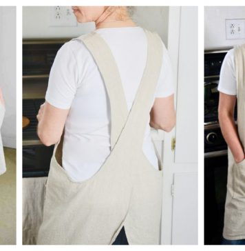 Cross-over Linen Apron Free Sewing Pattern and Video Tutorial