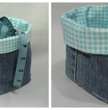Denim Fabric Baskets Free Sewing Pattern