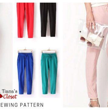Rosalie Elastic Waist Cropped Pants Free Sewing Pattern