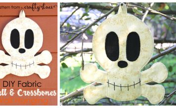 Fabric Skull and Crossbones Wall Hanging Free Sewing Pattern