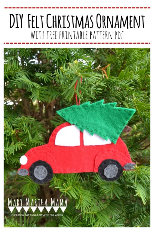Red Car Christmas Tree Ornament Free Sewing Pattern