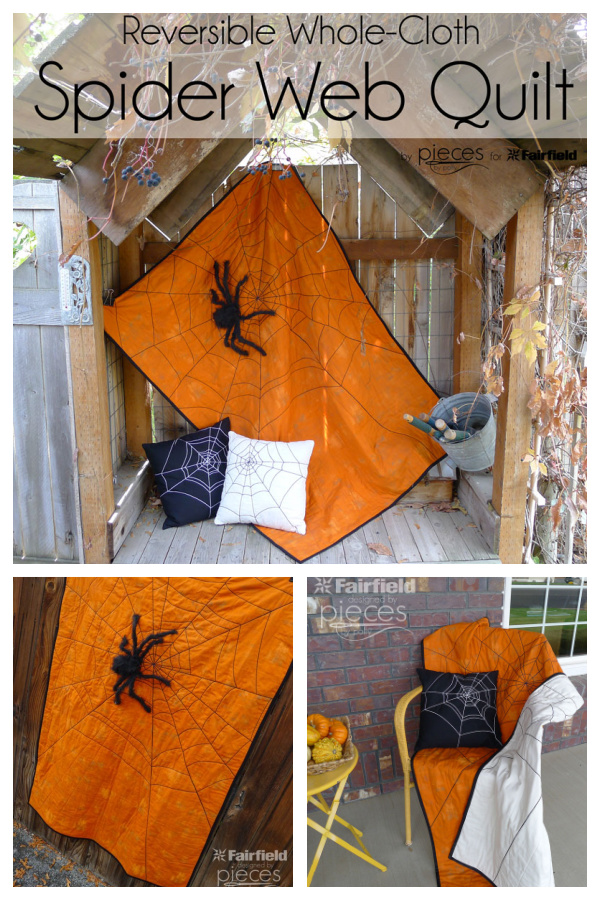 Reversible Spider Web Halloween Quilt Free Sewing Pattern