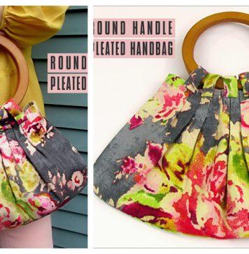 Round Handle Pleated Handbag Free Sewing Pattern