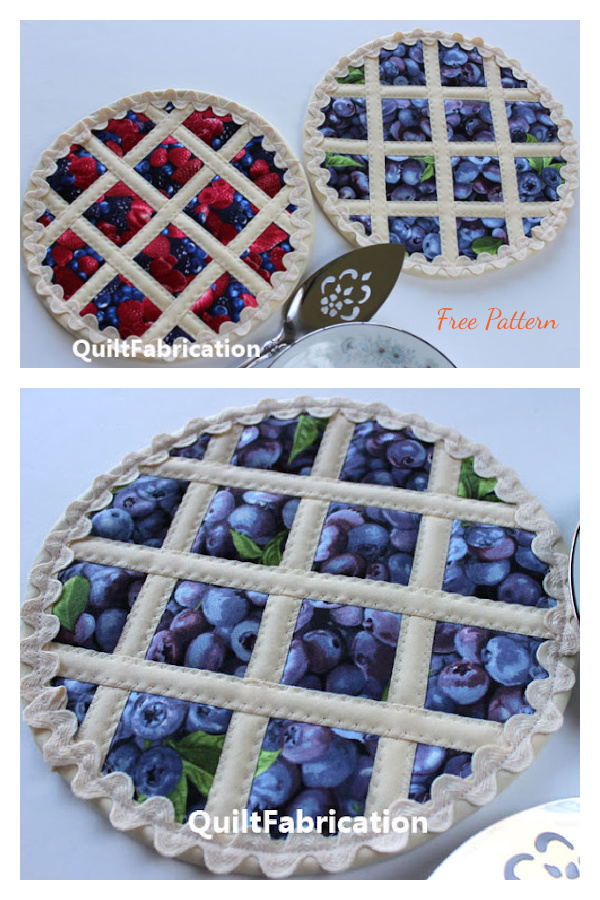 Lattice Fruit Pie Trivet Free Sewing Pattern