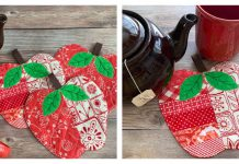 Quilted Apple Coasters Free Sewing Pattern